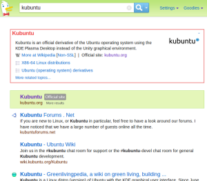 DuckDuckGo result for Kubuntu